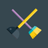 Toilet plunger and brush vector. Royalty Free Stock Photography