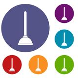 Toilet plunger icons set. In flat circle reb, blue and green color for web Royalty Free Stock Photography