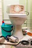 Toilet Repairs Work In Progress Stock Photo