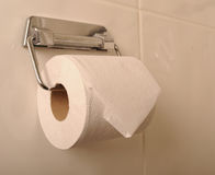 Toilet roll and holder Royalty Free Stock Photography