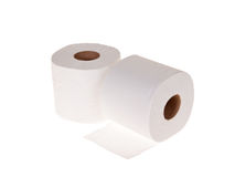 Toilet rolls isolated on white. Toilet rolls loo paper sanitary product isolated on white stock photo