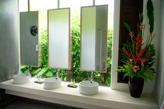 Toilet in tropical hotel Phuket Thailand. Toilet room with large mirrors in the hotel overlooking the jungle thickets sinks and soap royalty free stock image