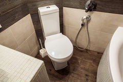 Toilet room in Scandinavian style, decorated with white built-in Stock Image