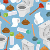 Toilet seamless pattern. Toilet and plunger. Shit and toilet pap Stock Photo