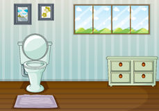 A toilet seat and a side table royalty free illustration