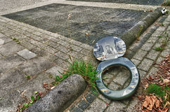 Toilet seat on the street Royalty Free Stock Photography