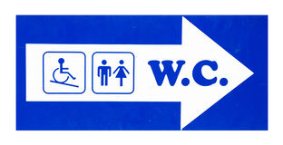 Toilet sign. With male, female and disabled person silhouettes, isolated on white Stock Photos