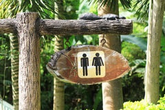 Toilet sign. Old Wooden toilet sign in the park Royalty Free Stock Images