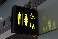 Toilet sign. Signs in the boarding zone of Beijing Capital Airport Stock Image