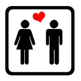 Toilet Sign. Women's And Men's Toilets Sign With Red Heart Royalty Free Stock Photos