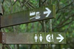 Toilet sign. Toilet, restaurant, pier wooden sign Royalty Free Stock Photography