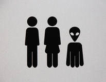 Toilet sign with alien Stock Images