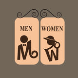 Toilet sign on brown background Royalty Free Stock Photos