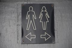 Toilet sign direction. Toilet sign pointing in the direction to go Royalty Free Stock Photos
