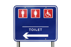Toilet or restroom sign and handicapped sign isolated on white Stock Image
