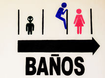 Toilet sign. Funny toilet sign in spanish somewhere in Mexico Stock Photo