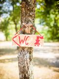 The toilet sign hangs on the tree. And is homemade, diy Stock Image