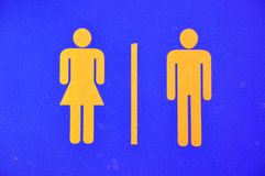 Toilet sign on leather Stock Image