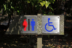 Toilet sign. For male, female and people with disabilities in the park corner Stock Photography