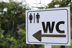 Toilet sign for man and female on white table in nature Royalty Free Stock Image