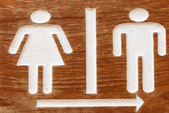 Toilet sign. Man and Woman wooden toilet sign Royalty Free Stock Image