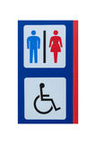 Toilet sign for men women and cripple isolated on white Stock Photos