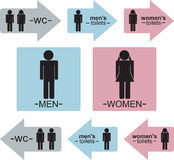 Toilet sign. Mens and womens WC signs and indicators in three colors (Blue,pink and gray). Eps format is available Royalty Free Stock Images