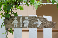 Toilet sign. On the old wood Royalty Free Stock Image