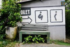 Toilet sign in public park garden Royalty Free Stock Photography