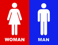 Toilet sign in red and blue Royalty Free Stock Photography