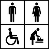 Toilet Sign - Restroom, Mother room and Disabled sign Royalty Free Stock Image