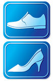 Toilet sign with shoe Stock Image
