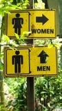 Toilet sign symbol in garden Stock Photos
