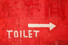 Toilet sign on vintage wall Royalty Free Stock Photography