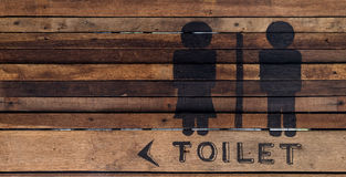 Toilet sign on wood wall. For public area Royalty Free Stock Images