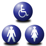 Toilet signs. 3D spherical toilet signs including men, women and disabled Royalty Free Stock Photo