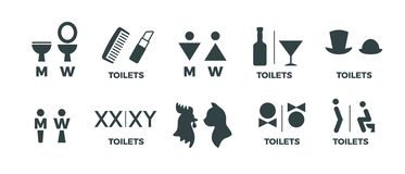 Toilet signs. Funny WC man and woman direction icons, restaurant cafe cinema restroom door signs. Vector toilet symbols. Set stock illustration