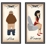 Toilet signs. Image of both men and women cartoon toilet signs Stock Photos