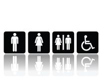 Toilet signs, man and woman. Man and woman symbols for toilet, washroom, restroom, lavatory Stock Photography