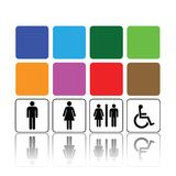 Toilet signs, man and woman. Symbols for toilet, washroom, restroom or lavatory Stock Image
