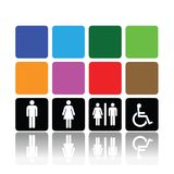 Toilet signs, man and woman. Symbols for toilet, washroom, restroom or lavatory Stock Images