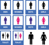 Toilet signs. Set of different kind of toilet sings Royalty Free Stock Images