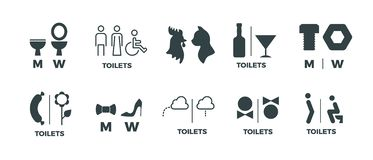 Toilet signs. He she WC door symbols, man and woman bathroom direction signs. Vector funny icons of restroom pictogram. Set vector illustration