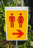Toilet sing for man and female on yellow table Royalty Free Stock Photos