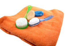 Toilet soap bath towel and brushes Stock Photos