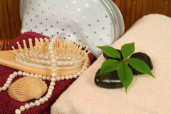 Toilet and spa. Spa treatment composition - brush, silver vanity bag and pearls Royalty Free Stock Photos