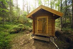 Toilet in sweden national park. Wooden toilet in the midle of the mudus national park in sweden Stock Photo