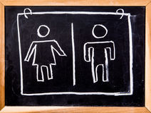 Toilet symbol on black board Stock Images
