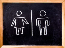 Toilet symbol on black board Royalty Free Stock Photo