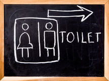 Toilet symbol on black board Stock Photos
